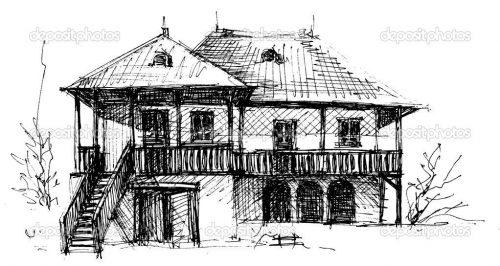 картинки дома нарисованные карандашом6