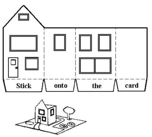 шаблон домик из бумаги