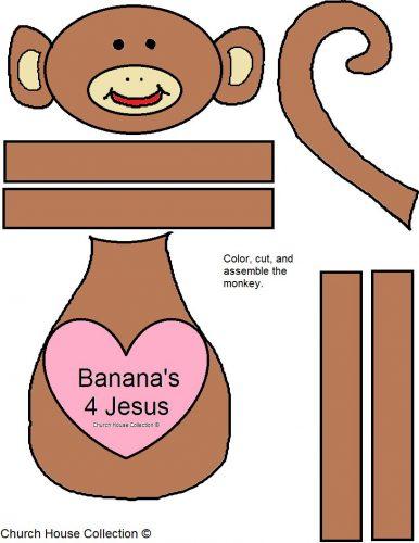 обезьяна из бумаги цветной вариант