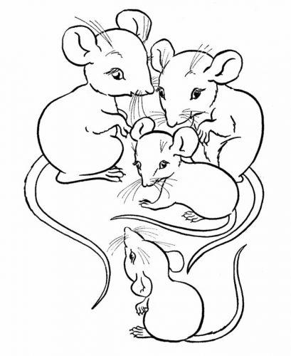 мышки раскраска