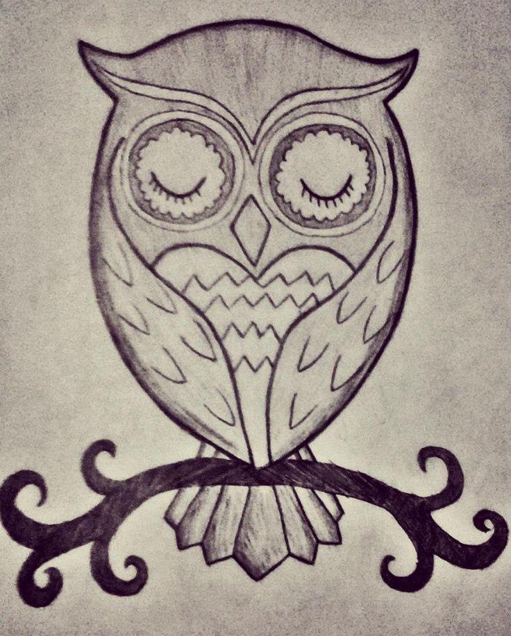 нарисованная картинка сова