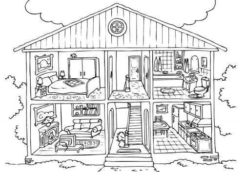 части дома раскраска-картинка