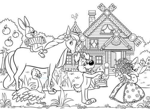 кошкин дом раскраска2