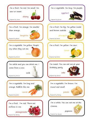загадки на английском про еду