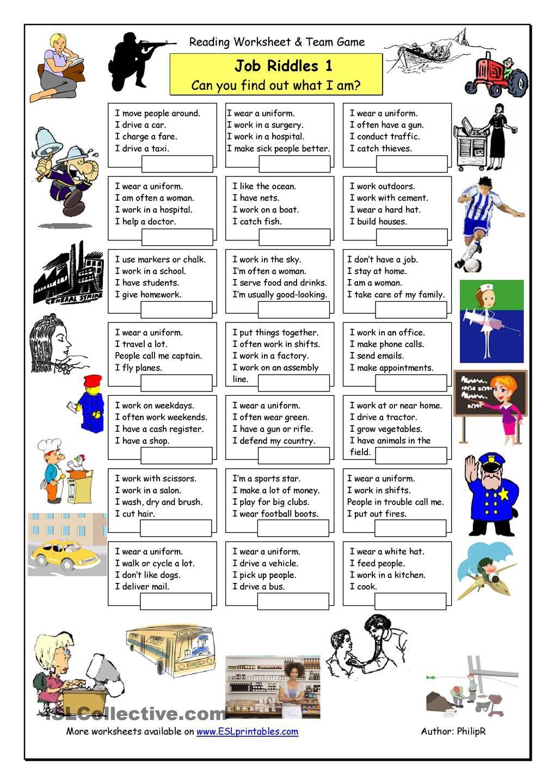 загадки про профессии на английском языке