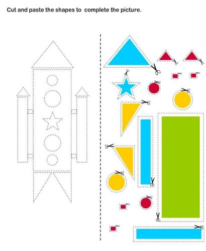 аппликация ракета из геометрических фигур