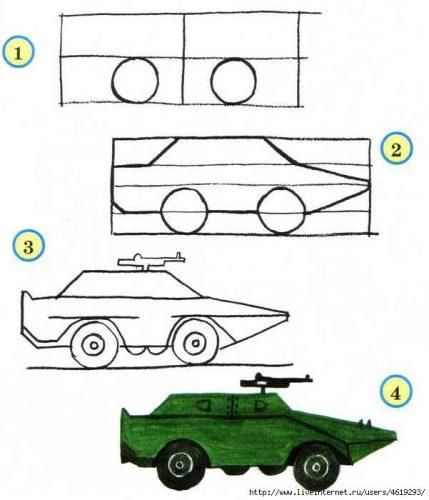 рисунок танка по шагам