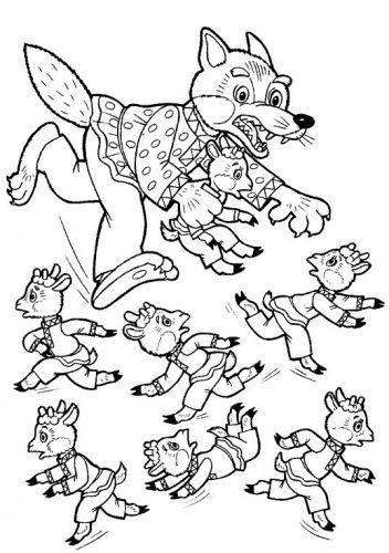 Волк и семеро козлят раскраска2