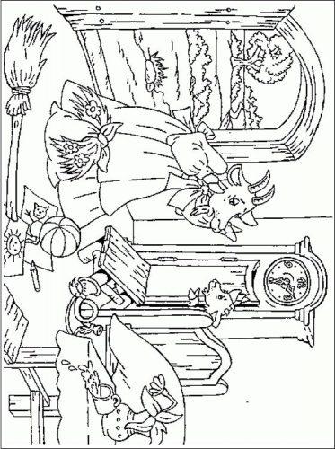 Волк и семеро козлят раскраска3