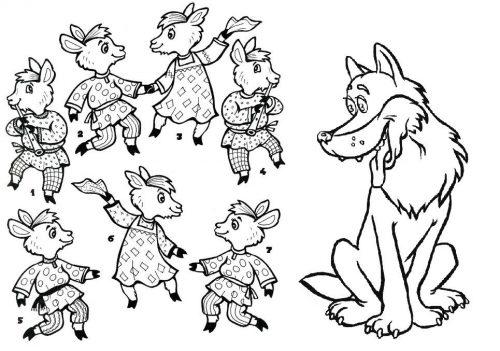 Волк и семеро козлят раскраска4