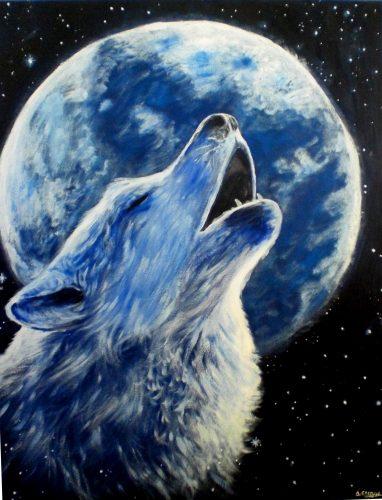 волк воет на луну6
