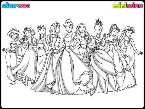 принцессы диснея раскраска3