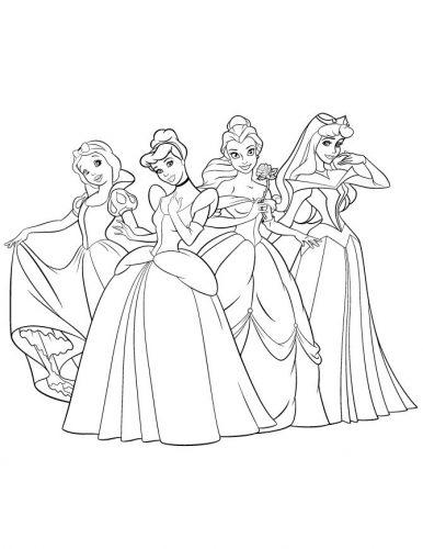 принцессы диснея раскраска2