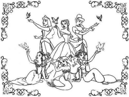 принцессы диснея раскраска