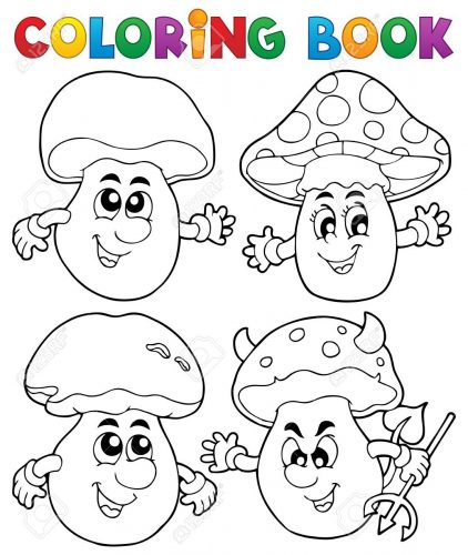 гриб раскраска