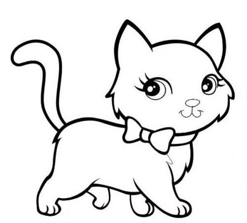 кошка раскраска