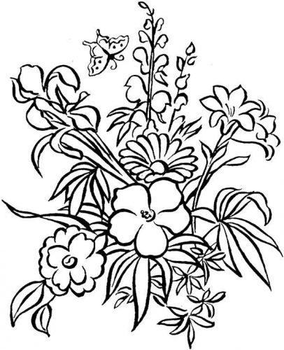 цветы раскраска12