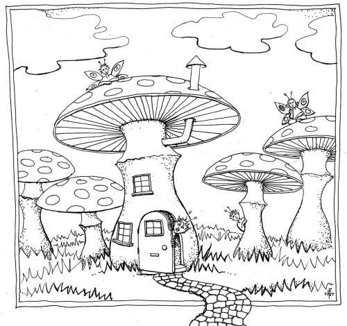 гриб раскраска18