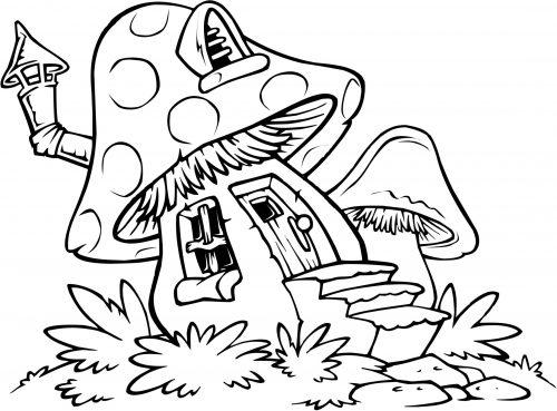гриб раскраска4