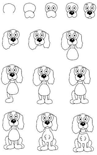 собака как нарисовать