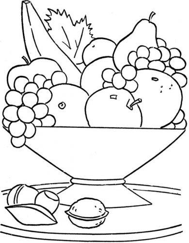 фрукты на столе раскраска