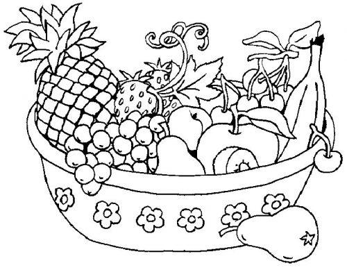 фрукты на столе раскраска4