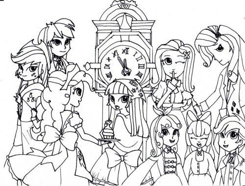 девочки из эквестрии раскраска11
