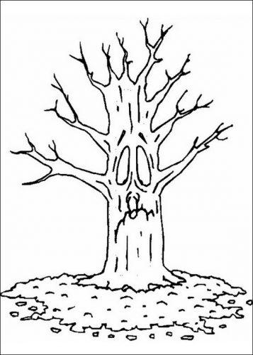 осеннее дерево раскраска