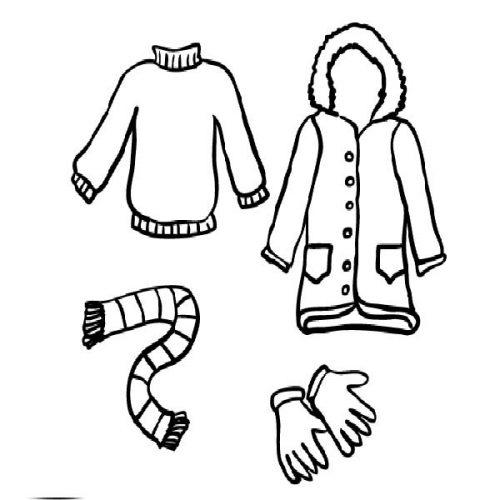 зимняя одежда раскраска