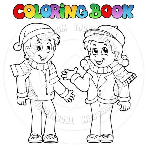 мальчик и девочка в одежде раскраска