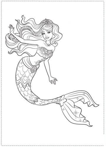 раскраска русалочка барби2