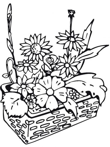 корзина с цветами раскраска
