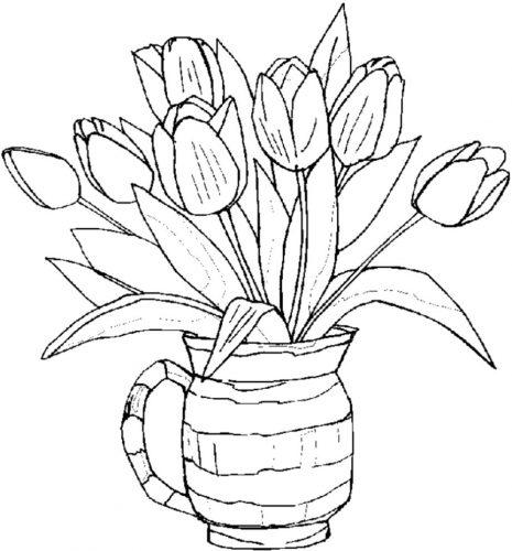 раскраска ваза с цветами2