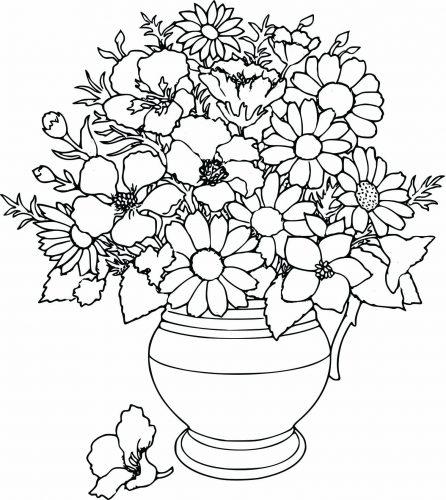 раскраска ваза с цветами3