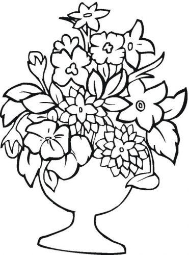 раскраска ваза с цветами4