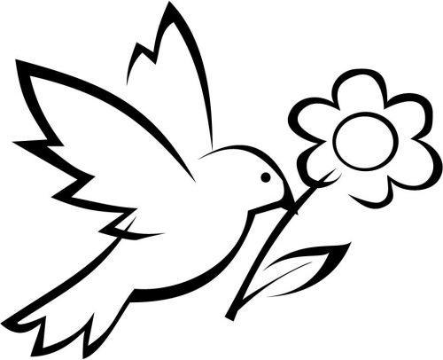 раскраска цветы и птичка