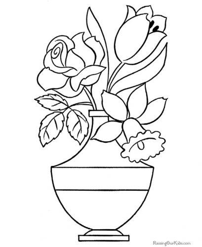 раскраска ваза с цветами