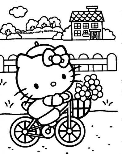 раскраска китти на велосипеде