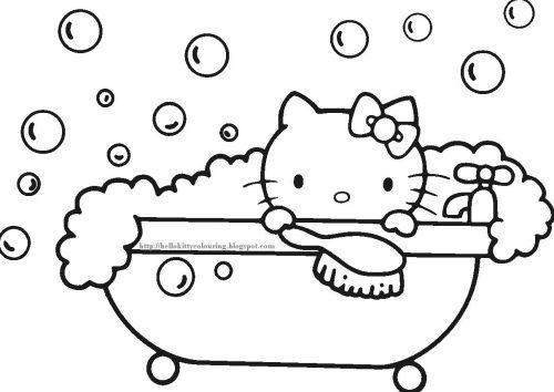 раскраска китти в ванной