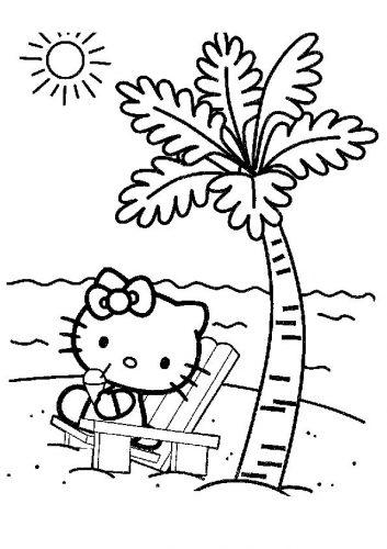 раскраска китти под пальмой