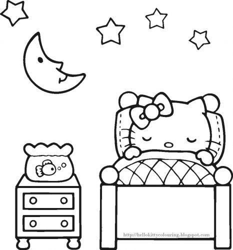 раскраска китти спит