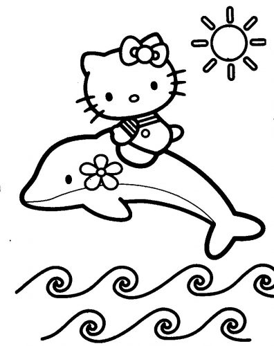 раскраска китти на дельфине