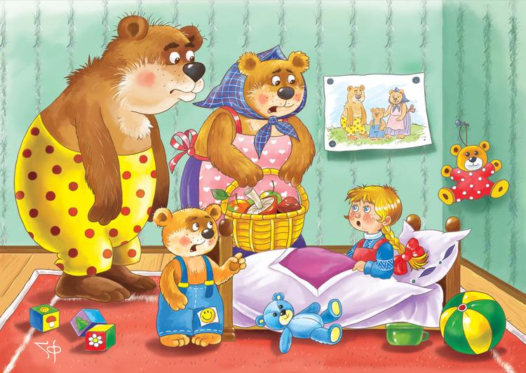 разрезные картинки к сказке три медведя главной