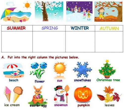 времена года для детей на английском языке