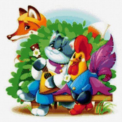 Кот петух и лиса картинки для детей4