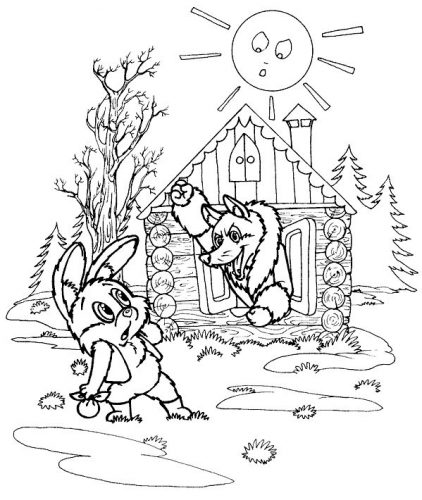 Лиса из сказок раскраска для детей