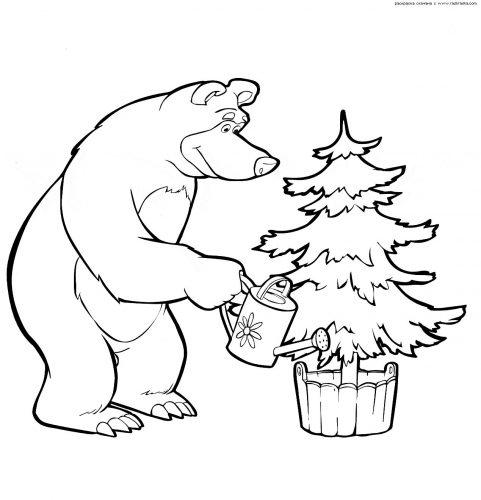 маша и медведь картинки раскраски