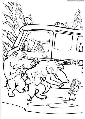 маша и медведь картинки раскраски11