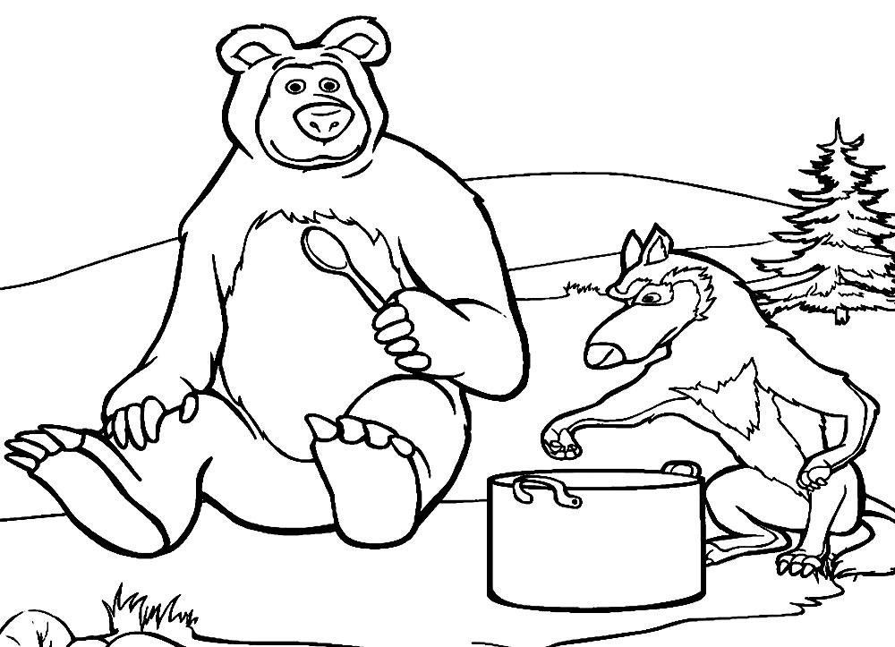 Картинка машка и мишка раскраска
