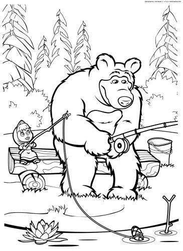 маша и медведь картинки раскраски3